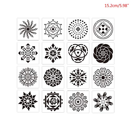Haptian 16 stks Mandala Stencil muur schilderen DIY tekening sjabloon stenen hout Funiture