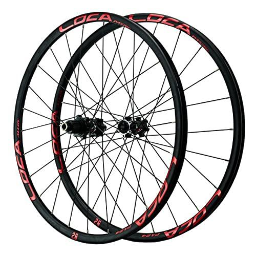 LICHUXIN Bicicleta Ruedas Delanteras y Trasera 26/27.5/29' Juego De Ruedas De Bicicleta de Montaña Llantas de Aluminio Eje Pasante Freno de Disco 12 Velocidad (Color : Red, Size : 27.5in)
