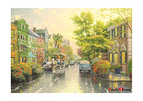 [PuzzleLife] Charleston Sunset Rainbow Row | 1000 Piece - Large Format Jigsaw Puzzle. Can be Enjoyed Puzzle Game by All Generation. Beautiful Decoration, Pleasant Play. Free Bonus Poster