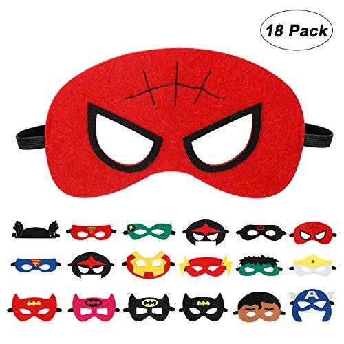 EXTSUD 18 Stück Kinder Masken Cosplay Party Halbe Augenmasken für Kinder Erwachsene Partytasche Füller Filzmaske mit Verstellbarem Elastischem Seil,ab 3 Jahren (18 Stück)