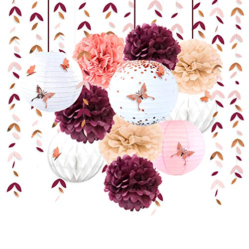 Burgundy Rose Gold Pink Party Decorations Lanterns Flowers Pom Pom with 3D Butterfly Stickers and Leaf Garland Streamers for Birthday Engagement Wedding Bridal Shower Bachelorette Fall Autumn Party