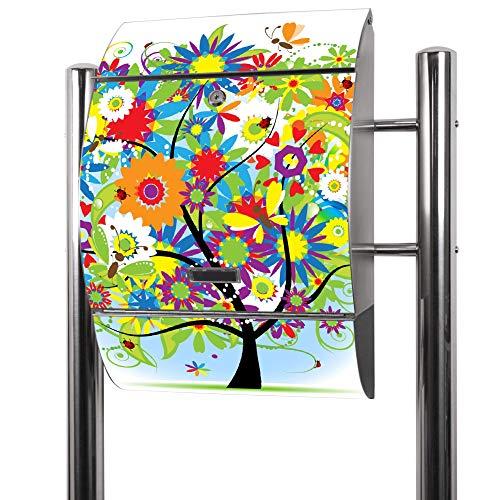 Banjado Briefkasten Edelstahl mit Ständer   Postkasten freistehend 126x53x17cm   Standbriefkasten mit Zeitungsfach und Namensschild Motiv Märchenzauberbaum