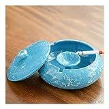 Ashtray Cerámica Retro Cenicero de Ceniza a Prueba de Viento con Tapa para Uso en Interiores o Exteriores para la decoración de la Oficina en el hogar Decoración (Color : Blue)