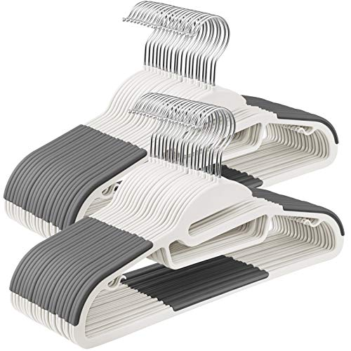 SONGMICS Kleiderbügel, 50 Stück, Anzugbügel aus Kunststoff, gut belastbar, S-Form-Öffnung, rutschfest, Dicke 0,5 cm, platzsparend, um 360° drehbarer Haken, 41,5 cm lang, weiß-grau CRP041W04