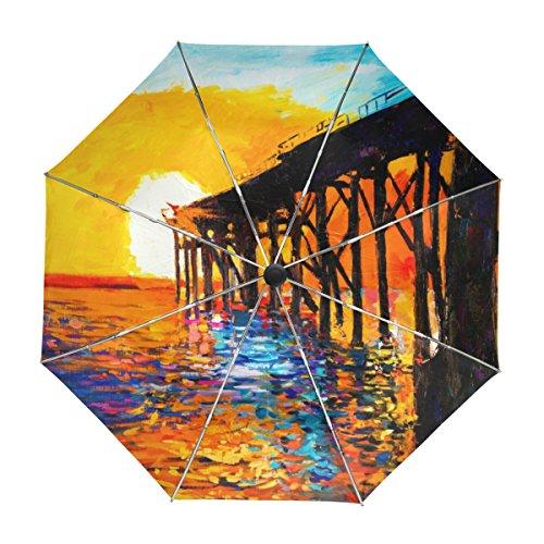 MyDaily Regenschirm mit Meeresbrücke, Ölgemälde, Reise-Regenschirm, automatischer Öffnung, UV-Schutz, Winddicht, leicht