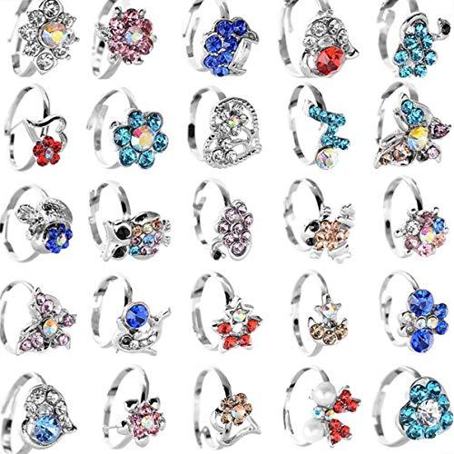 20 anelli per bambine, con graziosi fiori e animaletti, color argento, con strass, regolabili, regalo di compleanno per bambine e ragazze