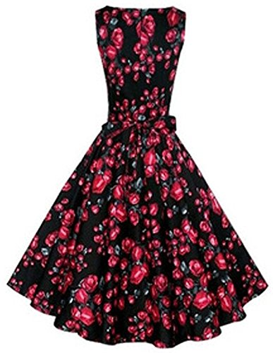 Minetom Damen Audrey Hepburn Blumendruck Elegant Weinlese Rockabilly Dress Swing Abend Hochzeit...