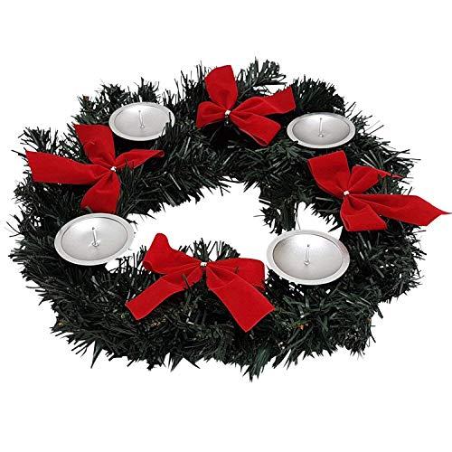 País De Casa de Shop Corona de Adviento para Velas de Adviento Navidad Velas Corona con Lazos Mesa decoración