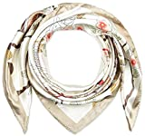 35 x 35 Womens Square Silk Feeling Hair Scarves Headscarf for Sleeping Linen Beige Phoenix and Pine