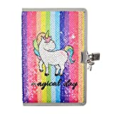 HOMUS Magical Day Rainbow Unicorn Sequin Notebook Diary with...