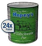 Hopey's hypoallergenes Nassfutter für Hunde 100% Wildschwein-Fleisch 24x 850g Dosen reines...