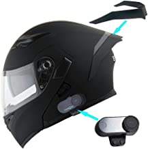 1Storm Motorcycle Modular Full Face Flip up Dual Visor Helmet + Spoiler + Motorcycle Bluetooth Headset: HB89 Matt Black