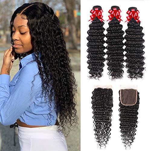 Brazilian Virgin Hair Deep Wave 3 Bundles Human Hair Bundles with 4x4 Lace Closure Deep Curly Hair Wet and Wavy Hair Weave Bundles with Closure Free Part Human Hair Extensions(16 18 20+14)