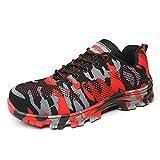 Hombres Botas de Trabajo Zapatos de Seguridad de los Hombres Zapatillas de Deporte de Camuflaje Militar Botas de Acero del Dedo del Pie Zapatos de Seguridad Indestructible Zapatos Botas de los, color Rojo, talla 42.5 EU