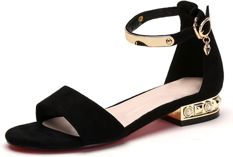GAOFENG Sandals Footwear Women's shoes Open Toe Slingback Clip Ankle Adjustable Genuine Leather Korean Version Flat Heel Student Retro for Summer (color   Black, Size   37)