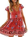 KIRUNDO Women's 2019 Summer Hot Short Sleeve V-Neck High Waist Floral Print Mini Boho Sun Dress with Button (Medium, Red)