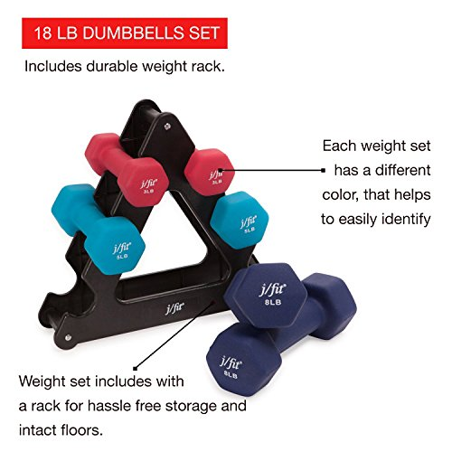 j/fit Dumbbell Set w/Durable Rack | Solid Design | Double Neoprene Coated Workout Weights Non-Chip and Flake | Dumbbells Sets For Gyms, Pilates, MMA, Training, Schools, Rehabilitation Centers