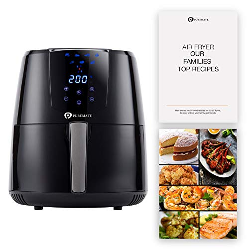 PureMate 4.2L Air Fryer with Digital Display & Recipes Book, Healthy Oil Free 1400W Air Fryer with 7 Preset, LED One Touch Screen, Timer & Adjustable Temperature Control for Low Fat Cooking