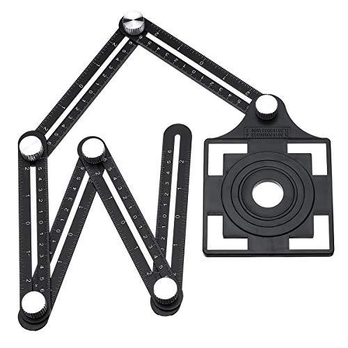 XUQIANG 12 Fold Ajustable Multi Angle Ruler Medida Posición Plegable Agujero de Azulejos Localizador