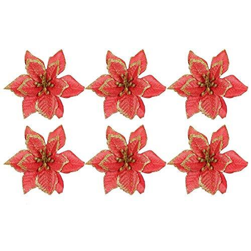 15cm 6pcs Fiori Finti con Glitter, Fiori Albero Natale, Fiori Ornamentali per Natale o per Matrimoni, Addobbi Albero di Natale(Rosso)