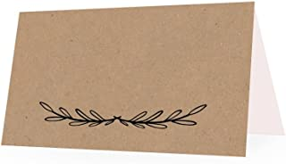 25 Rustic Kraft Tent Table Place Card For Wedding Thanksgiving Christmas Holiday Easter Catering Buffet Food Sign Paper Name Escort Card Folded Seat Assignment Setting Label Banquet Party Craft Event