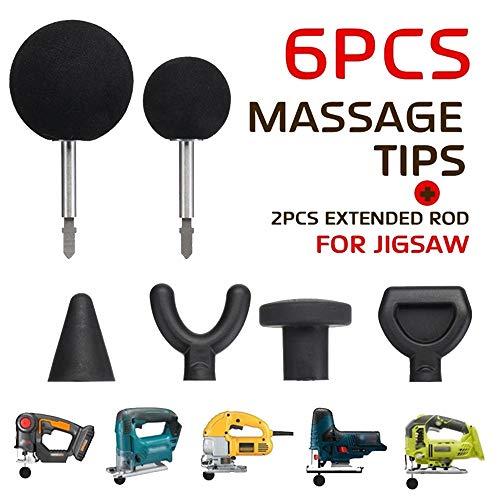 CHUDAN 6 Pcs Percussion Massage Tipps Jigsaw Massage Adapter mit 2 stücke Stange für Booster/Worx 540 / Ryobi/Makita/elektrische Stichsägenmassagegeräte