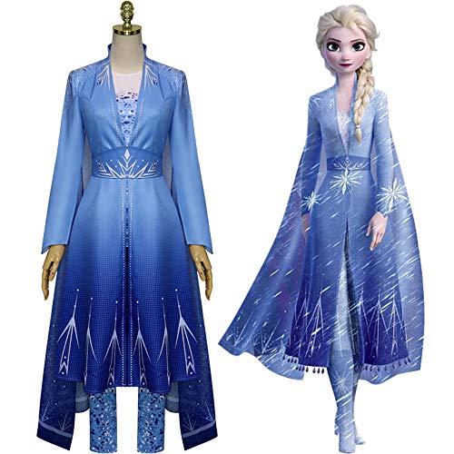 Nuevo Froz- 2 Cosplay Snow Adult E-lsa Disfraz de Cosplay Halloween Cosplay E-lsaDisfraz Princesa Ice Queen E-lsa Conjunto completo