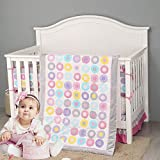 Brandream Nursery Bedding Set for Girls Pink Purple White Dot Crib Bedding Baby Comforter Set, 7 Piece