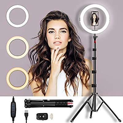 "Selfie Ring Light with Adjustable Tripod Stand & Phone Holder 11"" Dimmable LED Camera Ring Light for Live Stream/Makeup/YouTube Video, Remote and Compatible with Phones and Cameras from MIROCOO"
