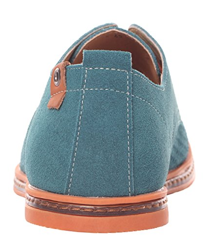 Serene Mens Leather Plain Toe Breathable Outlet Dress Shoes Casual Oxfords(11.5 D(M)US,green)