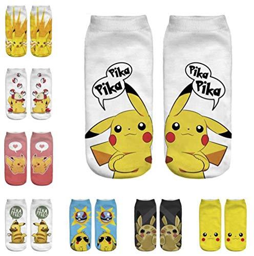 Jintong 8Pairs Women Girl Calzini Alla Caviglia Con Stampa 3D Cartoon Pokemon Pikachu Charmander Psyduck Squirtle Calzini Casual Kawaii Harajuku Socks