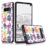 LuGeKe Dog Paws Phone Case Cover for Samsung Galaxy S10 Plus Puppy Paws Printed Phone Cover Shell Frame for Samsung Anti-Scratch and Comfortable(Colorful Puppy Paws)