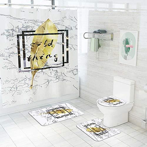 ETOPARS Marmor Textur Bad Duschvorhang Teppich Set 4 Stück Weiche & rutschfeste Badematte, U-förmiger Kontur Teppich, Toilettendeckelabdeckung 72 x 72 Zoll, Marmor Textur 07