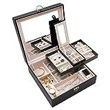 ProCase Caja Joyero Grande, Estuche Almacenamiento con Espejo y 2 Capas de Exhibición para Joyas y Relojes, Regalo para Mujeres, Niñas, Damas –Negro