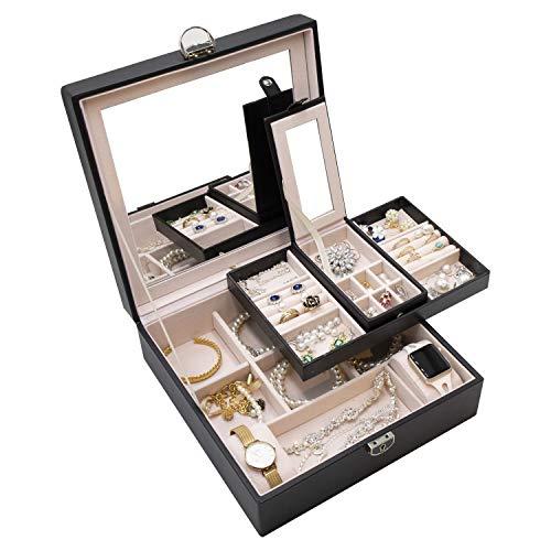 ProCase grote sieradendoos Organisator voor vrouwen meisjes dames, dubbele laag, met slot deksel en spiegel, sieraden Display Opbergtas voor ketting oorbellen armbanden horloges -zwart