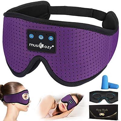 Sleep Headphones Bluetooth 3D Sleep Mask Wireless Sleeping Headphones w/Auto Off Timer Voice Control,Built-in HD Ultra Soft Music Eye Mask Sleepband for Airplane/Side Sleepers Insomnia(Purple) by Wuminglu