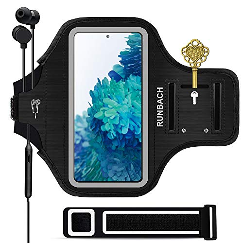 Runbach Water Resistant Running Armband for Samsung Galaxy S20 FE/S20+/S10+/S10 Lite/S9+/S8+,Galaxy A60/A51/A50/A32/A30/A20/A11/A10/A8S,with Fingerprint Touch,Adjustable Strap and Card Slot(Black)