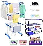 TRENDY Jumbo Cloth Drying Stand Combo with Shoe Rack, 2 Organizer, 2 Fridge