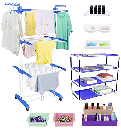 Jumbo Cloth Drying Stand Combo with Shoe Rack, 2 Organisers, 2 Fridge Organizers, 2 soap Stands and 1 Shelf