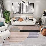 alfombra grande Alfombra de diseño de patrón de semicírculo de rayas grises, fácil de limpiar, tapete para gatear, sofá, alfombra de mesa de café alfombras grandes baratas infantiles -gris_Los 200 * 3