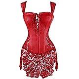 MISS MOLY Corsé Mujer Vintage Sexi Corset Corsét Gothic Dress Diseño de Encaje Curvado Figura Shape con Tanga