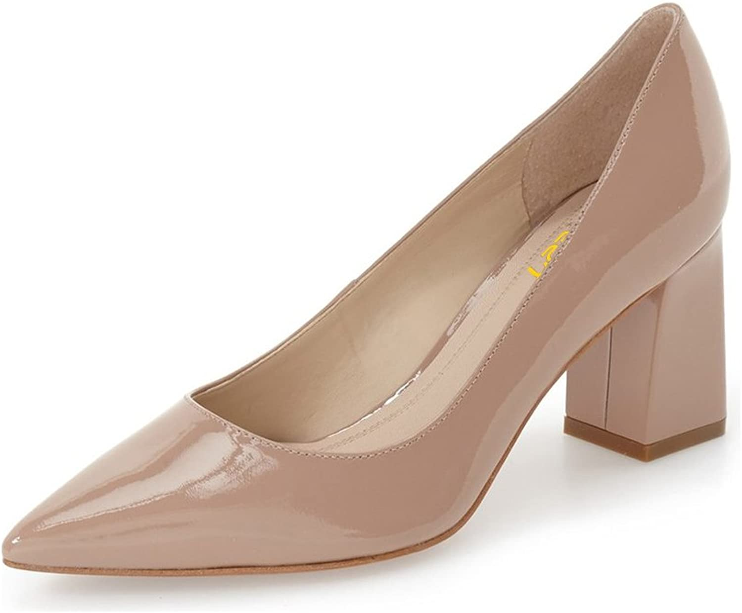 FSJ Comfortable Formal Pumps Patent Leather Pointed Toe Thoes Chunky Heels for Women Size 4-15 US