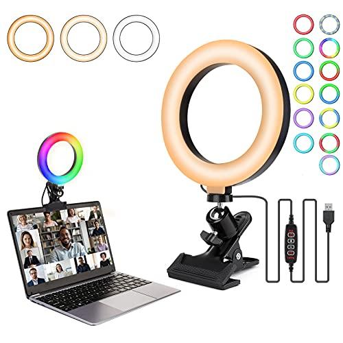 Anillo de Luz LED, Rigiyoo Luz para Videoconferencia con Clip 6 RGB Colores + 8 Niveles de Brillo, Luz de Anillo Selfie de 360 ° Giratorio Mesa Luz de Resorte para Maquillaje Selfie Youtube Live