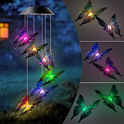 Colorful Butterfly Wind Chimes Butterfly Wind Chimes Solar LED Night Light Outdoor Hanging Patio Light Porch Garden Decor Color Changing