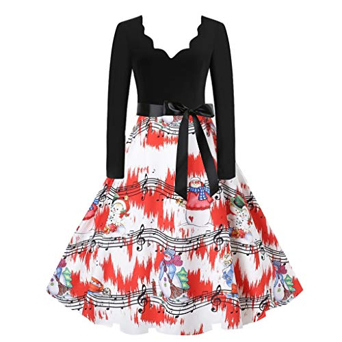 Christmas Dresses for Women Vintage Long Sleeve V Neck Printed Party Dress with Belt Cute Xmas Hat Cat Pattern Retro 50s Housewife Evening Prom Dress A-Line Swing Cocktail Dress (Black A, 3XL)