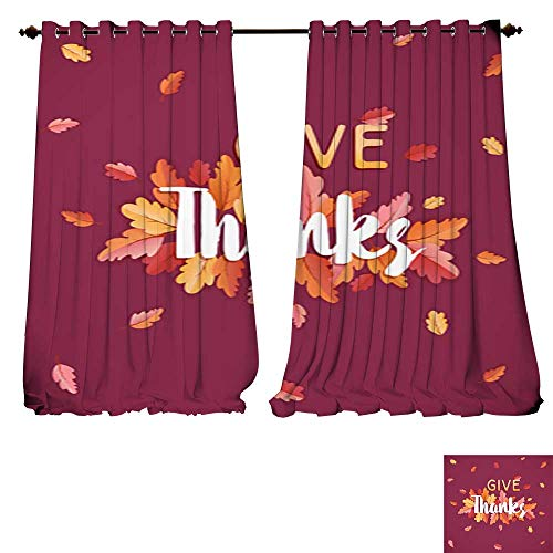 DESPKON-HOME Window Curtain Drape Happy Thanksgiving Holiday Typography Poster Celebration Text with Autumn Leaves Background for Post Thermal Insulated Blackout Curtains -W72 x L84/Pair