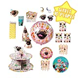 Doug The Pug Dog Party in A Box Kit - Serves 10 People - Plates, Cups, Napkins, Utensils, Balloons, Stickers, Hats, Banners and More - Celebration, Birthday Party, Graduation– 143 Pieces
