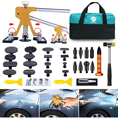 GLISTON Paintless Dent Puller – Golden Dent Puller Kit, 35pcs Dent Remover Tools with Adjustable Width Dent Repair Tools for Car, DIY Auto Body Dent Repair