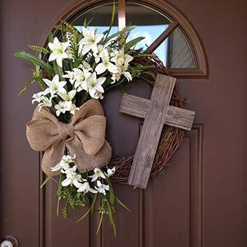 Corona pasquale decorativa primaverile, croce rustica e velo bianco, decorazione pasquale da appendere all'esterno, ghirlanda artificiale – ghirlanda per porta (30 x 30 x 10 cm)