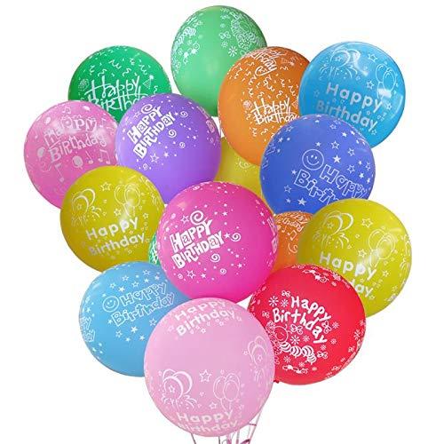 ZQBB Geburtstag Luftballons Bunt Ballons aus Latex mit Happy Birthday Überschrift für Kindergeburtstag oder Party 12 Zoll